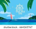 nautical poster concept. blue...   Shutterstock .eps vector #664265767