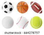 sports balls 3d illustration... | Shutterstock . vector #664278757