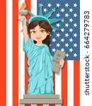 patriot day. labor day. statue...   Shutterstock .eps vector #664279783