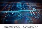 orange and blue technology... | Shutterstock . vector #664284277