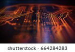 orange and blue technology... | Shutterstock . vector #664284283