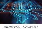orange and blue technology... | Shutterstock . vector #664284307