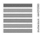 guilloche elements  borders for ... | Shutterstock .eps vector #664292083