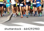 men athletes run the marathon... | Shutterstock . vector #664292983