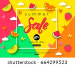 summer sale banner with pieces... | Shutterstock .eps vector #664299523