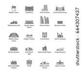 baku landmarks   icon set for...