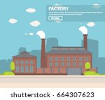 old industrial factory with a... | Shutterstock .eps vector #664307623