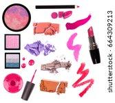 collage of decorative cosmetics ... | Shutterstock . vector #664309213