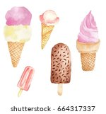 ice cream watercolor on white... | Shutterstock . vector #664317337