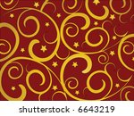 Gold swirls and stars on a red background. - stock vector
