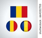 flag design. romanian flag set. ... | Shutterstock .eps vector #664332703