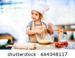 sweet little cute girl is... | Shutterstock . vector #664348117