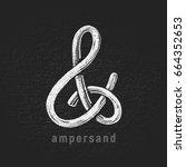 vector chalk ampersand hand... | Shutterstock .eps vector #664352653