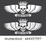 winged skull vector design... | Shutterstock .eps vector #664357597