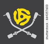 vinyl record dj vector logo... | Shutterstock .eps vector #664357603
