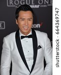 "Small photo of LOS ANGELES, CA - DECEMBER 10, 2016: Actor Donnie Yen at the world premiere of ""Rogue One: A Star Wars Story"" at The Pantages Theatre, Hollywood."