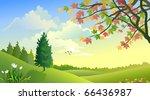 a beautiful rural summer... | Shutterstock .eps vector #66436987