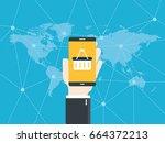 hand holding smart phone. e...   Shutterstock .eps vector #664372213