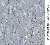 modern floral seamless pattern. ... | Shutterstock .eps vector #664373977
