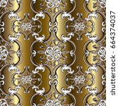 gold damask seamless pattern.... | Shutterstock .eps vector #664374037