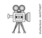 old cinema camcorder | Shutterstock .eps vector #664374607