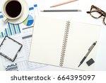 top view workspace mockup on... | Shutterstock . vector #664395097