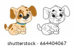 Cute Cartoon Puppy. Funny Dog....