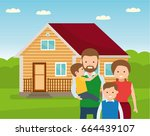 happy family in the background... | Shutterstock .eps vector #664439107