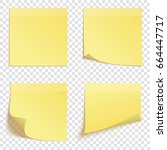 set of square yellow sticky... | Shutterstock .eps vector #664447717