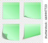 set of square green sticky... | Shutterstock .eps vector #664447723