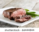 sirloin steak with green beans - stock photo