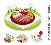 isometric bbq picnic bag.... | Shutterstock .eps vector #664450867
