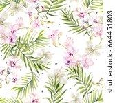 beautiful watercolor seamless... | Shutterstock . vector #664451803