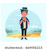 photographer with camera... | Shutterstock .eps vector #664456213