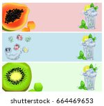 set of banners with tropical... | Shutterstock .eps vector #664469653