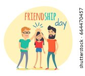 best friends girl and boys... | Shutterstock .eps vector #664470457