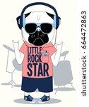 little rock star pug dog... | Shutterstock .eps vector #664472863