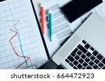 graphs  sheets with graphs on... | Shutterstock . vector #664472923