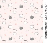 seamless pattern of hand drawn... | Shutterstock .eps vector #664475047