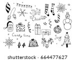 set of hand drawn christmas... | Shutterstock .eps vector #664477627
