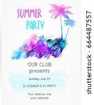 poster template for summer... | Shutterstock .eps vector #664487557