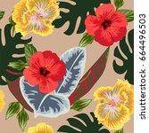 tropical seamless floral... | Shutterstock .eps vector #664496503