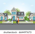real estate agent showing new... | Shutterstock .eps vector #664497673