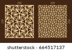 laser cutting set. woodcut... | Shutterstock .eps vector #664517137
