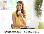 weight loss concept. beautiful... | Shutterstock . vector #664526113