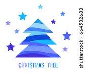 digital vector blue happy new... | Shutterstock .eps vector #664532683