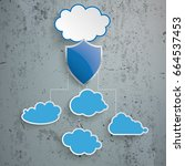 blue clouds with protection... | Shutterstock .eps vector #664537453
