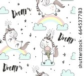 Stock vector vector pattern with cute unicorns clouds rainbow and stars magic background with little unicorns 664537783