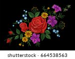 Stock vector rose flower embroidery texture patch red field flower herb textile print neckline traditional 664538563
