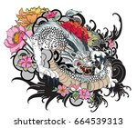 full color asian dragon tattoo  ... | Shutterstock .eps vector #664539313